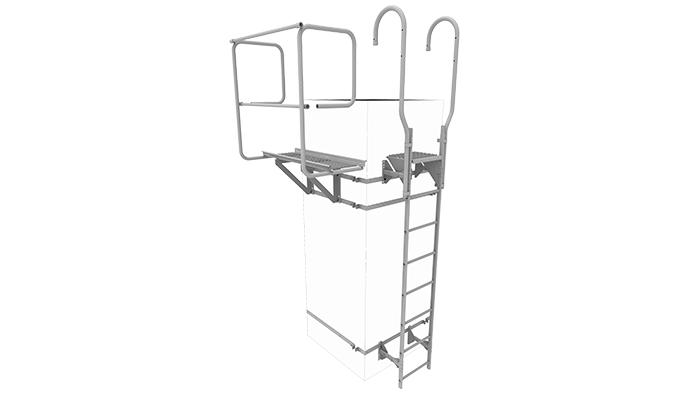 stege och plattform för sotaren som fästes vid skorstenen
